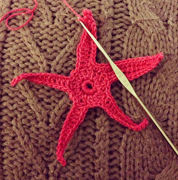 Crochet starfish for the nautical swap