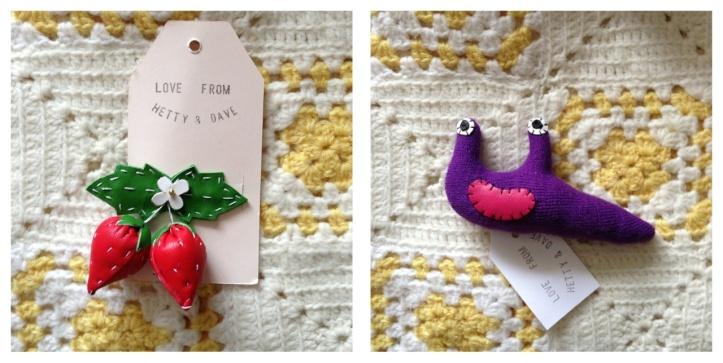 Strawberries hairslide and Mike the slug