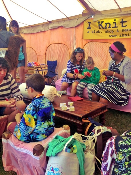 I Knit London helping festival-goers to finger knit and make pom-poms